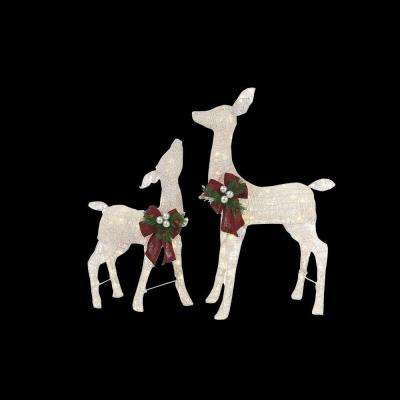 36 in. LED Lighted White PVC Deer and 28 in. LED Lighted White PVC Doe
