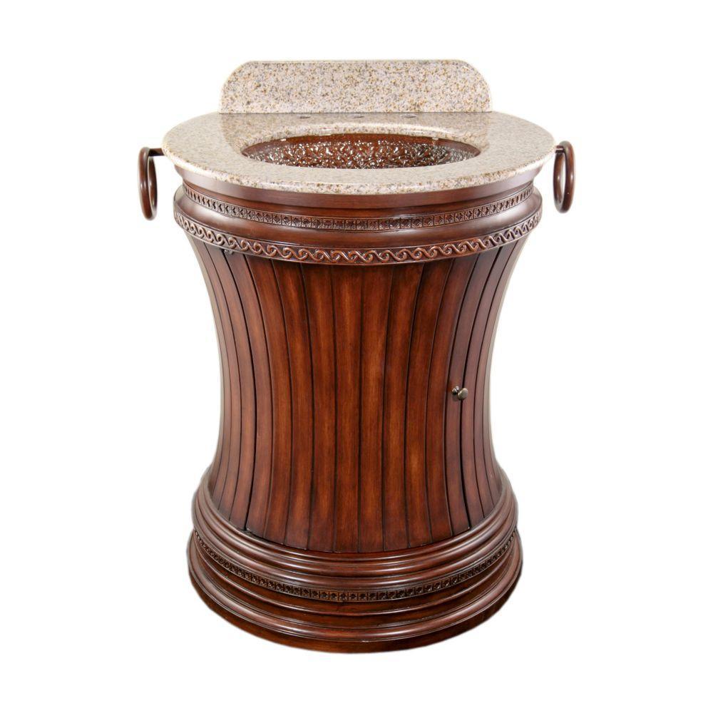 JSG Oceana Cambridge 27.5 in. Vanity in Espresso with Granite Vanity Top in Beige with Champagne Gold Pebble Undermount Sink