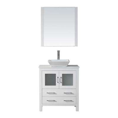 Dior 31 in. W Bath Vanity in White with Stone Vanity Top in White with Square Basin and Mirror and Faucet