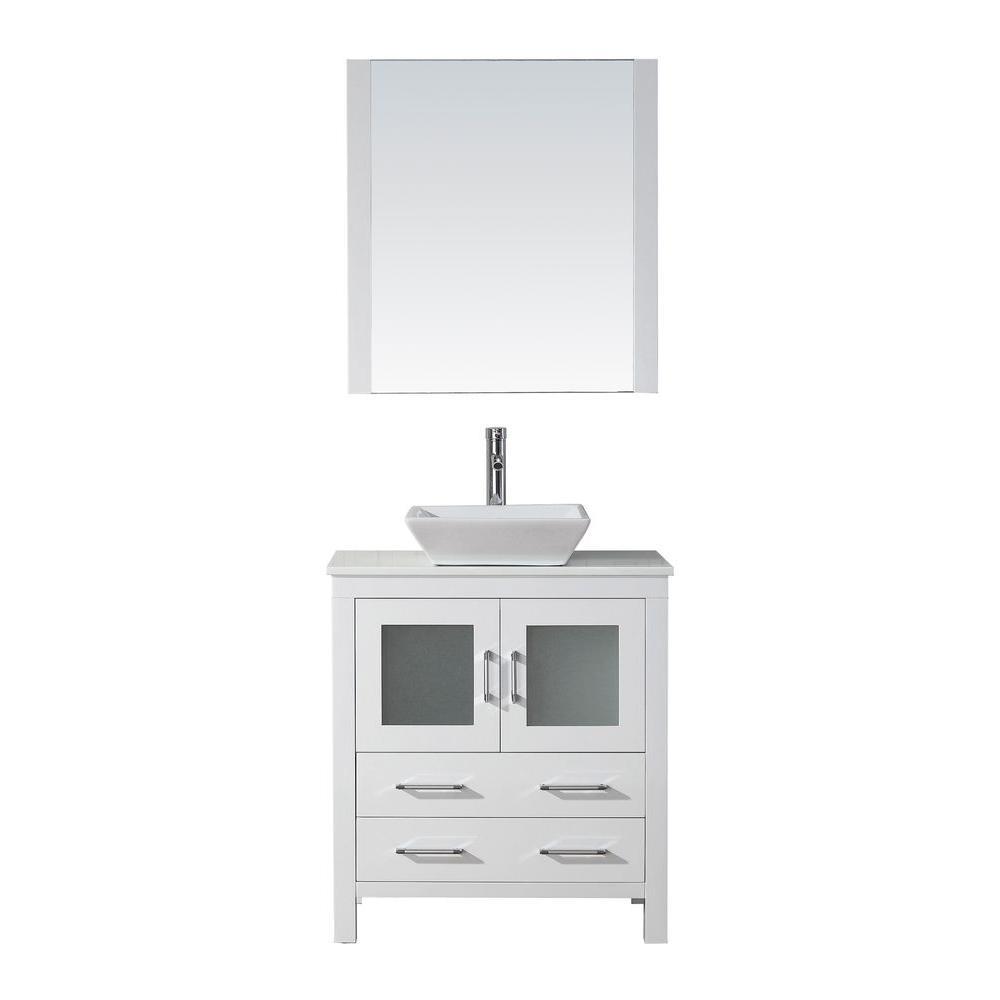 d vanity in white with stone vanity