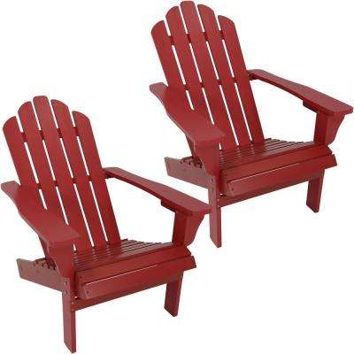 Red Wooden Patio Adirondack Chairs (Set of 2)