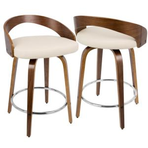 Lumisource Grotto Walnut And Cream Swivel Counter Stool Cs