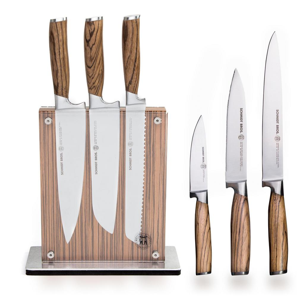 7-Piece Stainless Steel Cutlery Zebra Wood Set with Zebra Midtown Knife Block