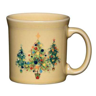 12 oz. Ivory Ceramic Trio of Christmas Trees Java Mug