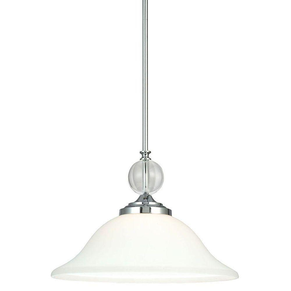 Sea Gull Lighting Englehorn 1-Light Chrome Pendant with Etched Glass Painted White Inside
