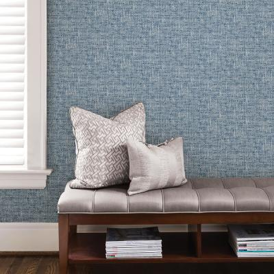 30.75 sq. ft. Navy Poplin Texture Peel and Stick Wallpaper
