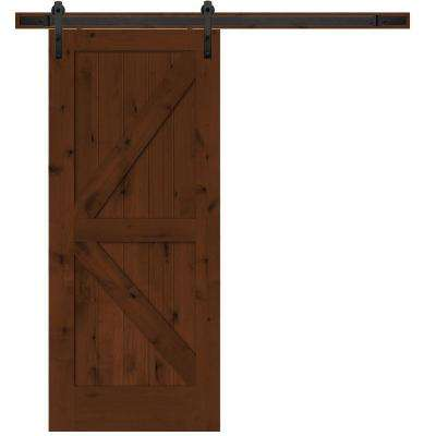 rustic 2panel stained knotty alder interior barn door