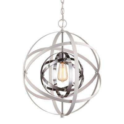 Monrovia 1-Light White and Polished Chrome Pendant