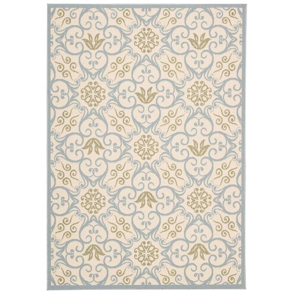 Nourison Caribbean Ivory Blue 9 Ft X 13 Indoor Outdoor Area