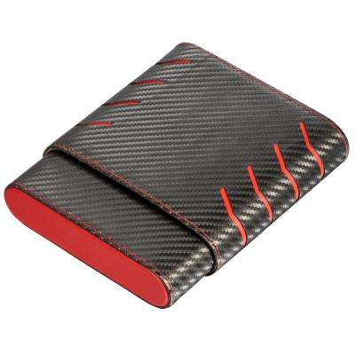 Dexter Black and Red Carbon Fiber Pattern 6-Finger Cigar Case