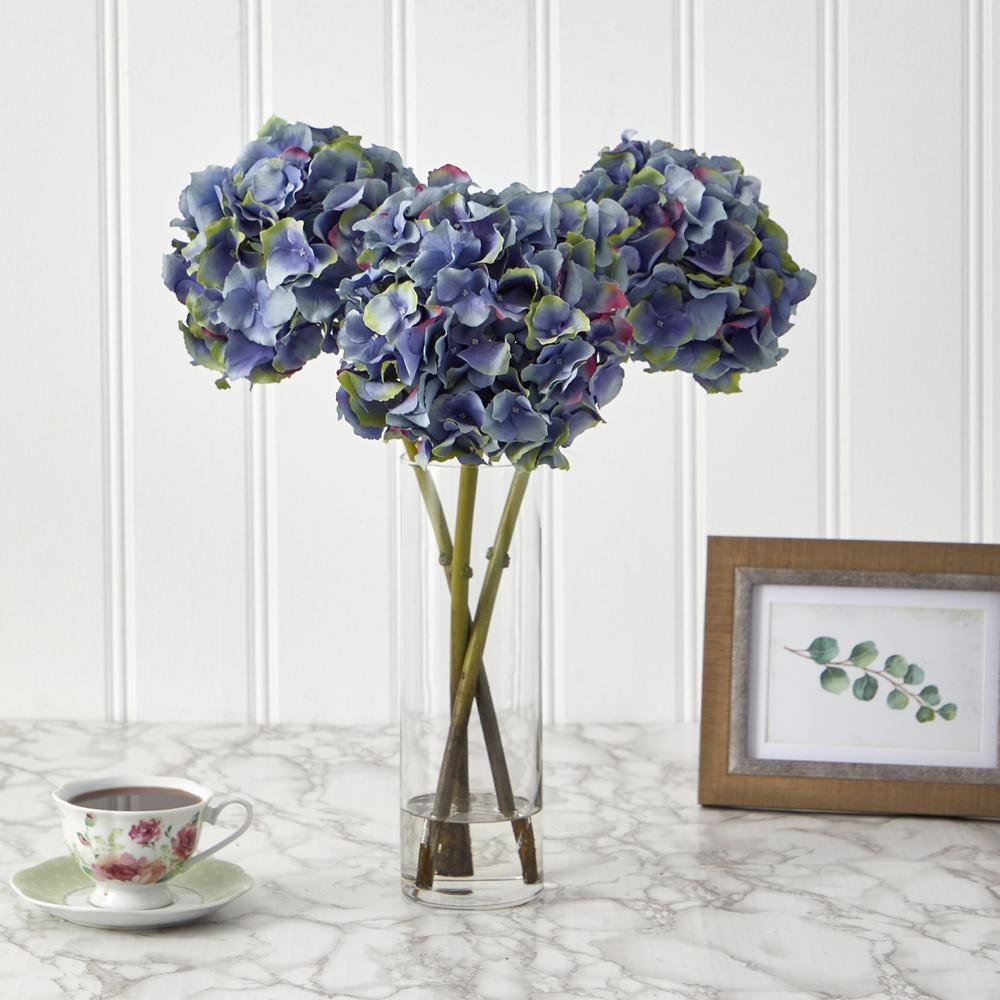 18in. Hydrangea Artificial Arrangement in Glass Vase
