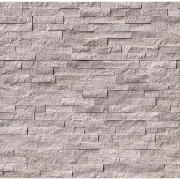 Gray Oak Split Face Ledger Panel 6 in. x 24 in. Marble Wall Tile (10 cases / 60 sq. ft. / pallet)