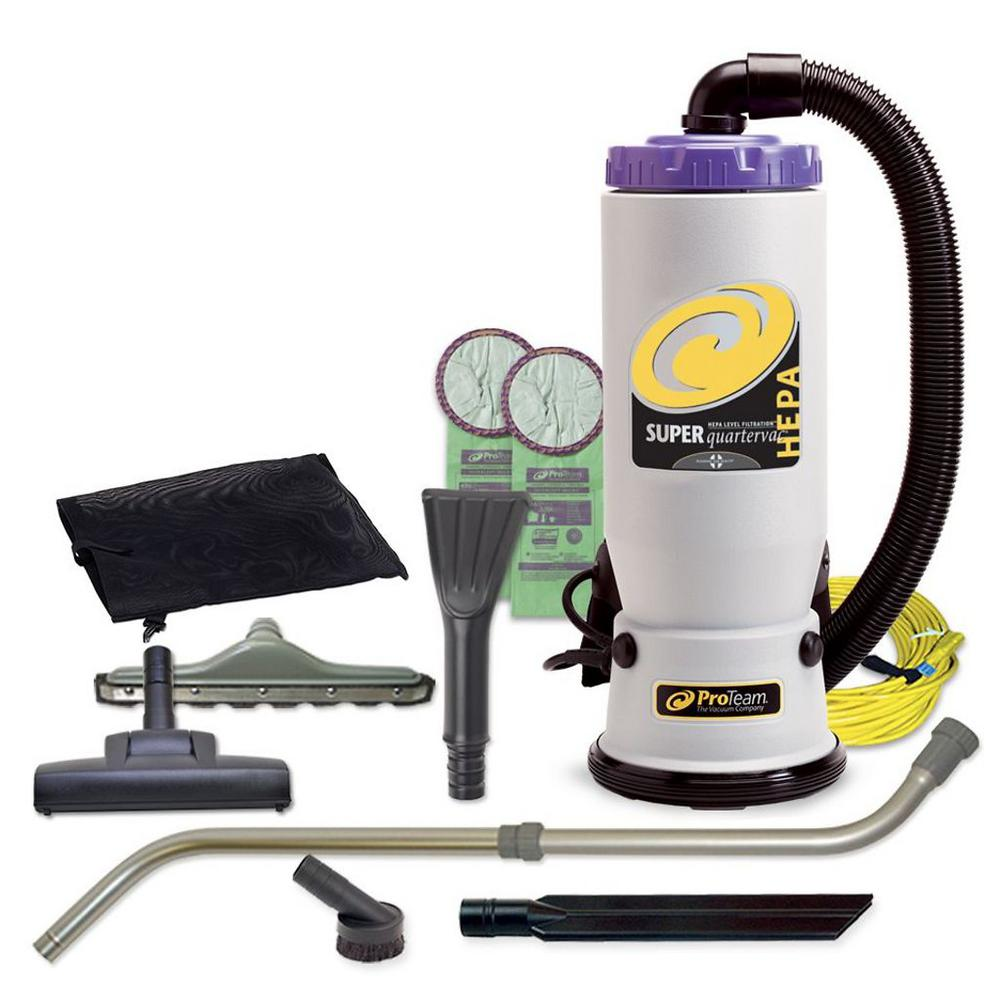 ProTeam Super QuarterVac 6 Qt. Backpack Vacuum Cleaner with Residential Cleaning Service Kit At only 10 lbs., this backpack vacuum is almost half the weight of a traditional upright vacuum. The included telescoping wand weighs less than 3.5 lbs., which means that your arm muscles don't have to bear the extra weight. Unlike upright vacuums, backpack vacuums are easy to maneuver under and around chairs, tables, floor lamps and other furniture items. With the included tools, you can actually reach the area under the couch, without having to move the couch first, or easily vacuum the dust off your ceiling fans. Unlike an upright vacuum cord that often gets in the way while you're vacuuming, backpack vacuums allow for easier cord management. With backpack vacuums, you can enjoy freedom of movement like never before as you don't have to mess with the cords.