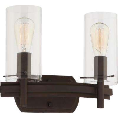 Regina 2-Light 8 in. Antique Bronze Indoor Bathroom Vanity Wall Sconce or Wall Mount with Clear Glass Cylinder Shades