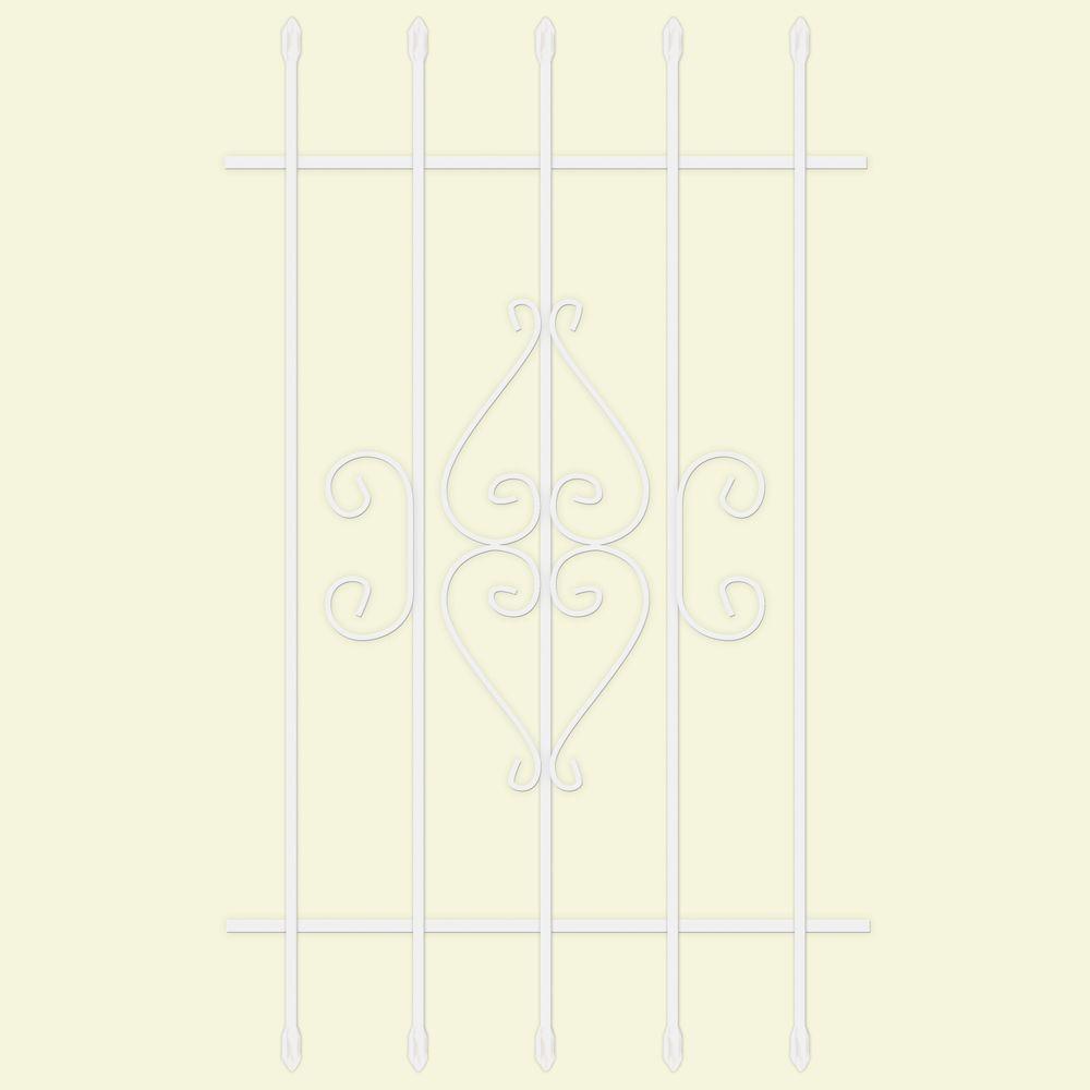 30 in. x 48 in. Su Casa White 5-Bar Window Guard