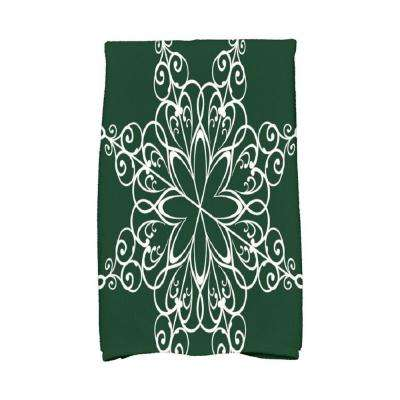 16 in. x 25 in. Dark Green Snowflake Holiday Geometric Print Kitchen Towel