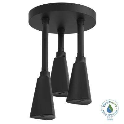 Zura Pendant 1-Spray 9 in. Showerhead with H2Okinetic Spray in Matte Black