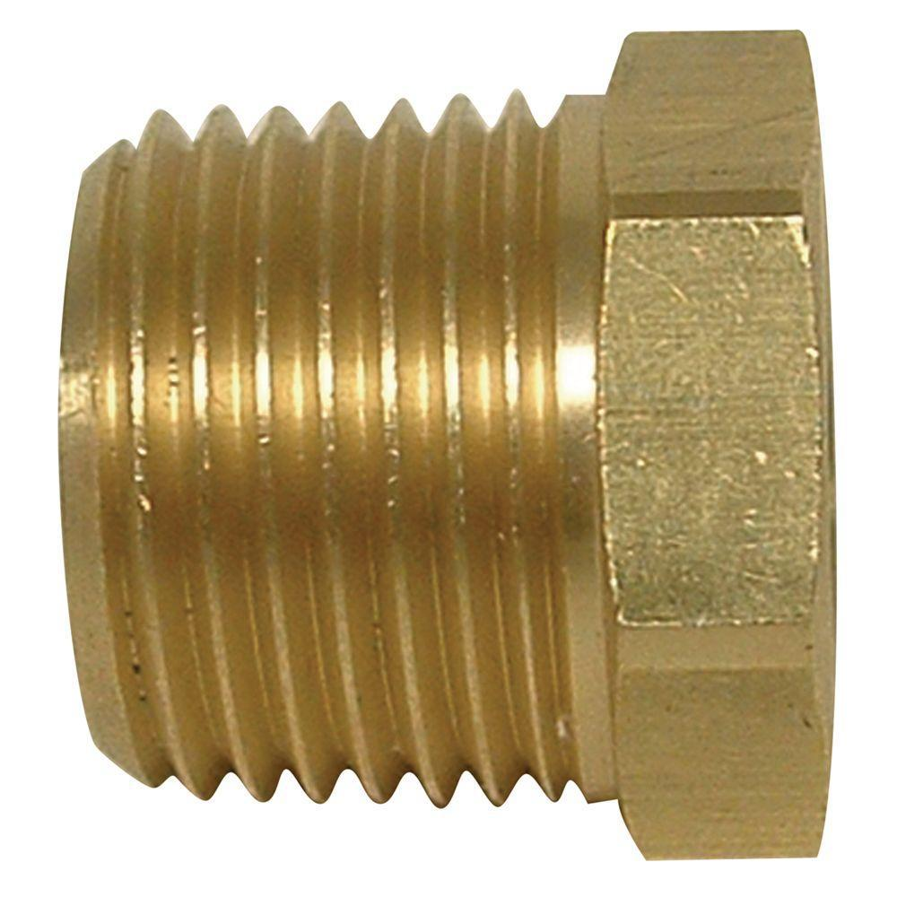 Everbilt 1/2 in. MIP x 3/8 in. FIP Lead-Free Brass Pipe Hex Bushing Fitting