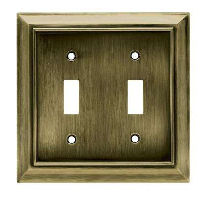 Architectural Decorative Double Switch Plate, Antique Brass