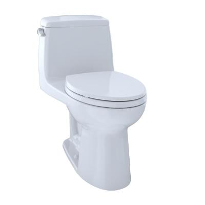 UltraMax ADA Compliant 1-Piece 1.6 GPF Single Flush Elongated Toilet in Cotton White, Seat Included