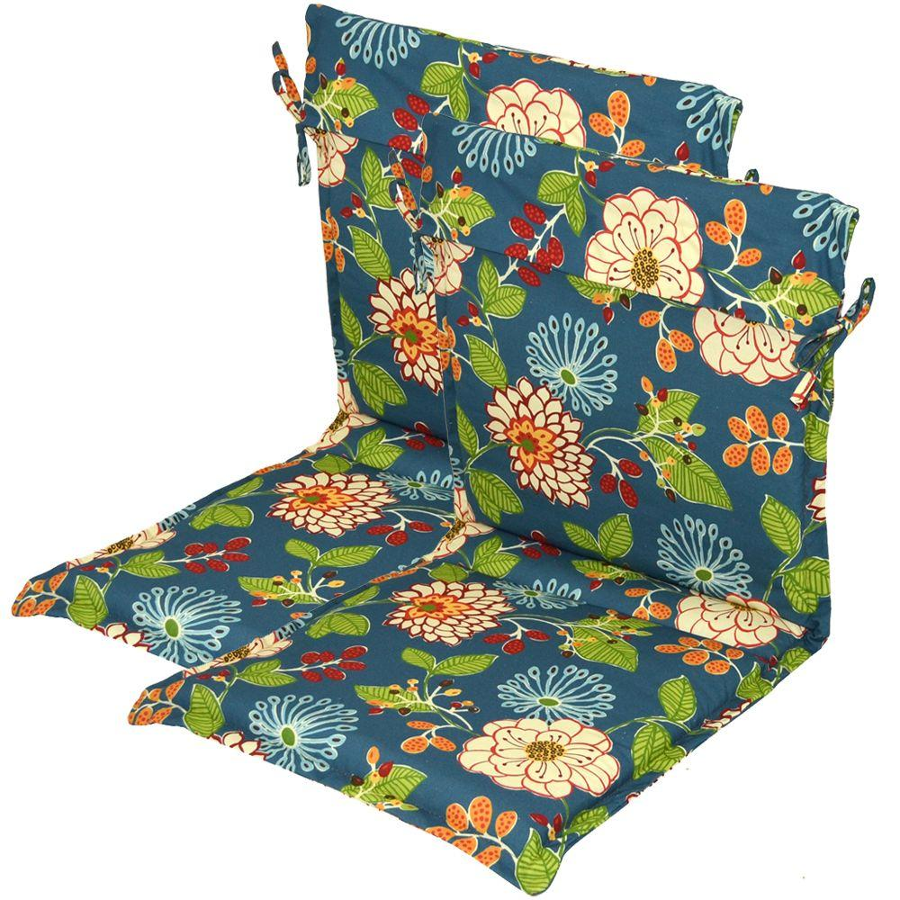 Hampton Bay Ruthie Floral Outdoor Sling Chair Cushion (2-Pack)-DISCONTINUED