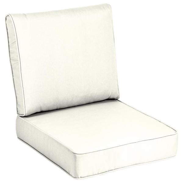 Home Decorators Collection 24 X 24 Sunbrella Canvas White Outdoor Lounge Chair Cushion Ah1m822b D9d1 The Home Depot