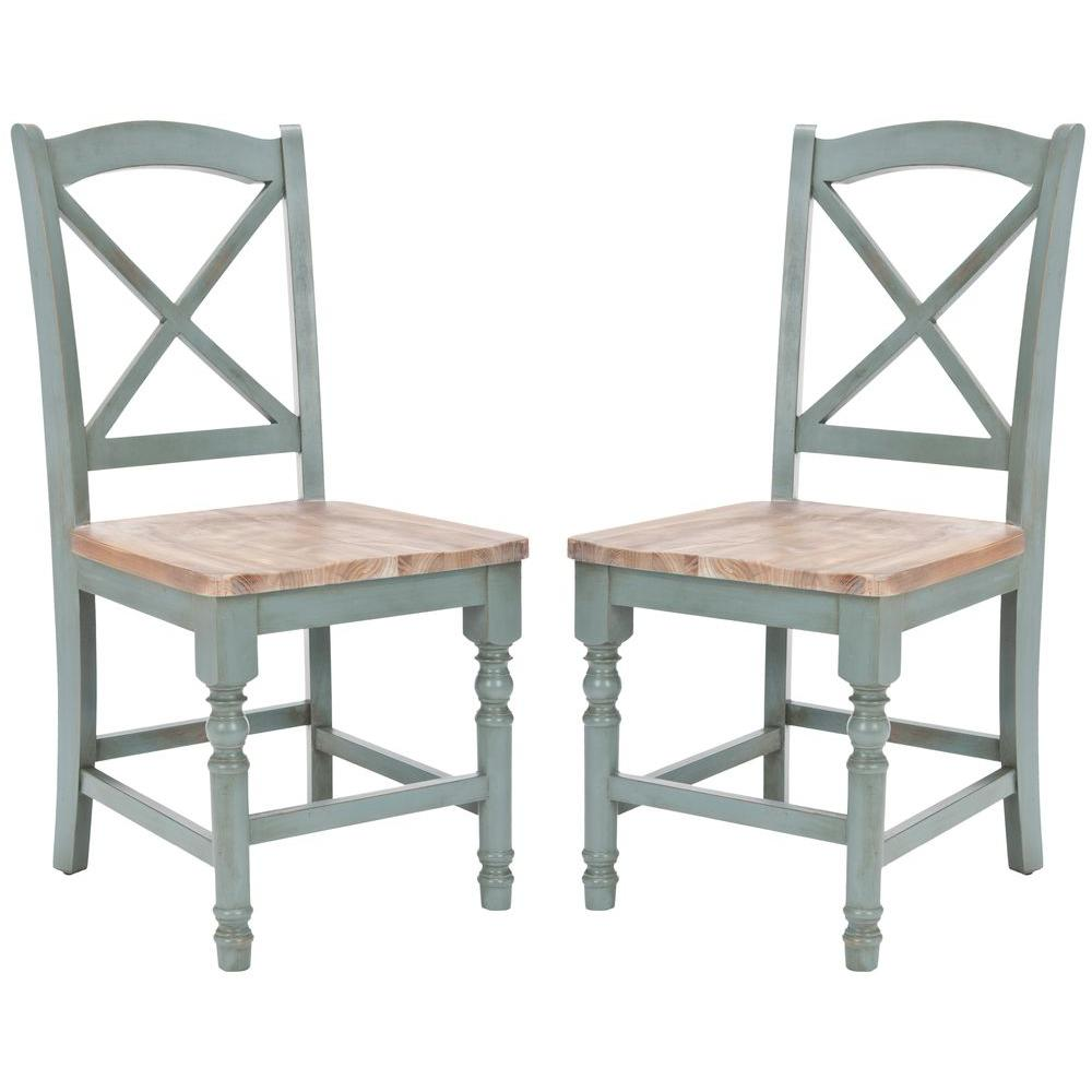Safavieh Kelley Pale Blue And Oak Wood Dining Chair (Set
