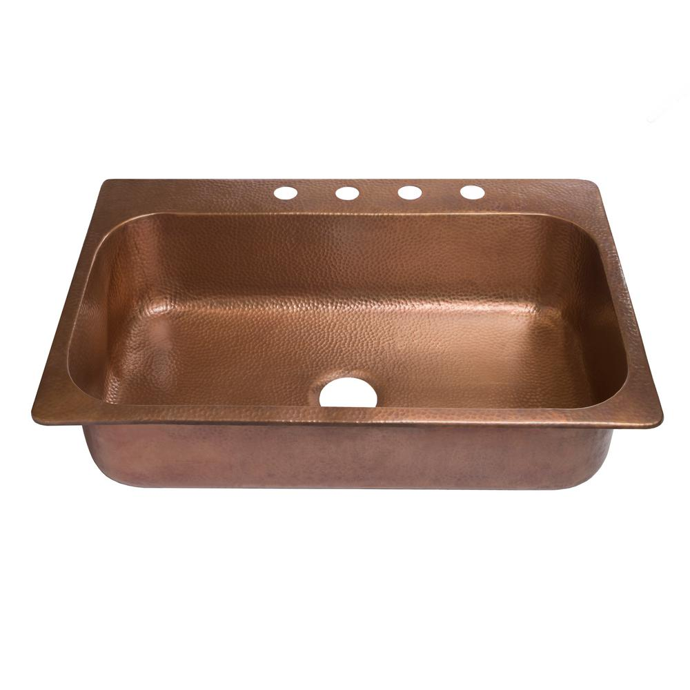 SINKOLOGY Angelico Drop-In Handmade Copper 33 in. 4-Hole Single Bowl Copper Kitchen Sink in Antique Copper
