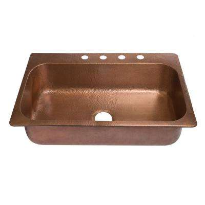 Angelico Drop-In Handmade Copper 33 in. 4-Hole Single Bowl Copper Kitchen Sink in Antique Copper