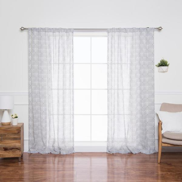 84 in. L Sheer Faux Linen Reverse Diamante Curtain Panels in Black (2-Pack)