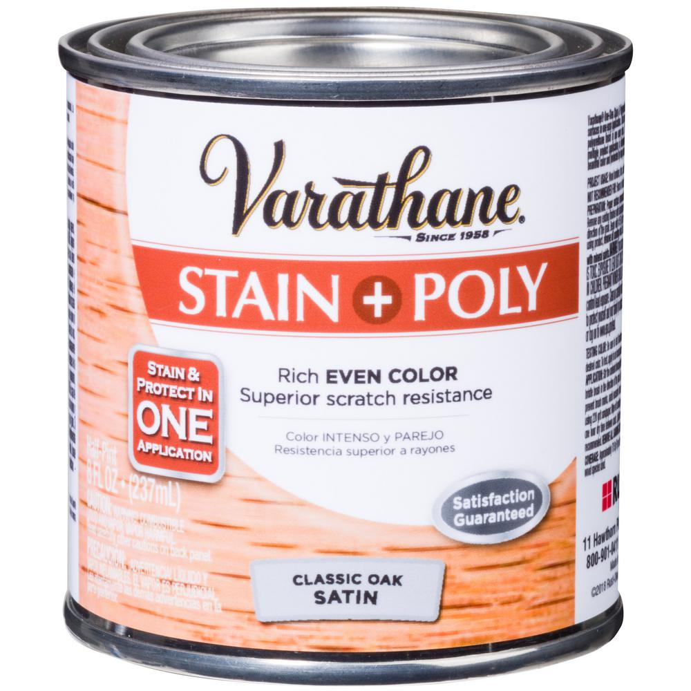 Varathane 1 hp. Oak Satin Water-Based Interior Stain and Polyurethane (4-Pack)