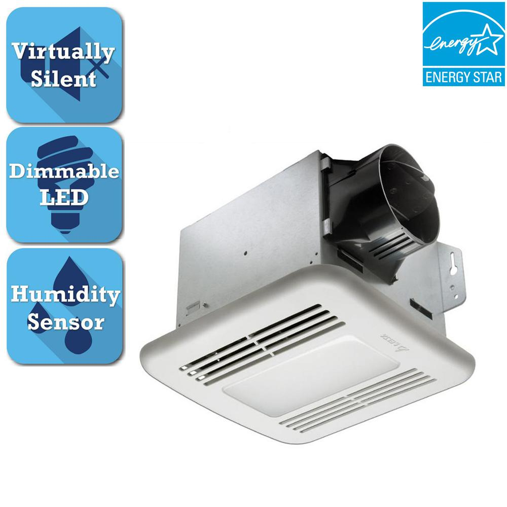 Delta Breez GreenBuilder Series 80 CFM Ceiling Bathroom Exhaust Fan with LED Light and Humidity Sensor, ENERGY STAR
