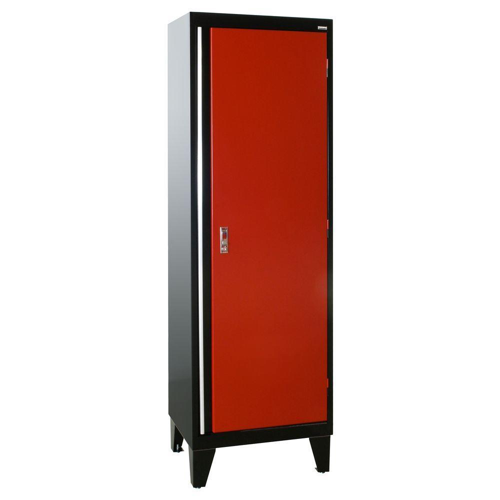 79 in. H x 24 in. W x 18 in. D Modular Steel Single Door Cabinet Full Pull in Black/Red