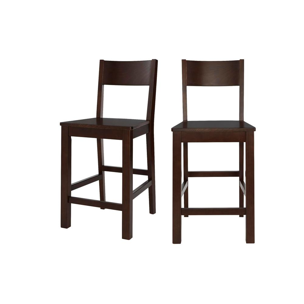 Lincoln Chocolate Wood Counter Stool with Square Back (Set of 2) (20.32 in. W x 38.61 in. H)
