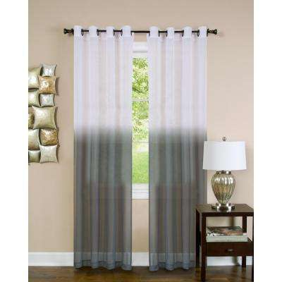 Sheer Essence Charcoal Window Curtain Panel - 52 in. W x 63 in. L