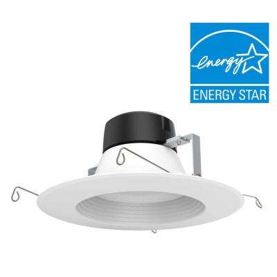 5 in. /6 in. 100-Watt Equivalent White Integrated LED High Ceiling Recessed Baffle Trim, 4000K, 93 CRI (12-Pack)