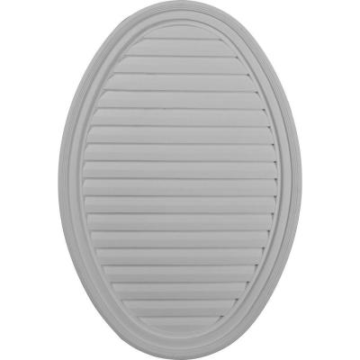 24.5 in. x 37 in. Oval Primed Polyurethane Paintable Gable Louver Vent Non-Functional
