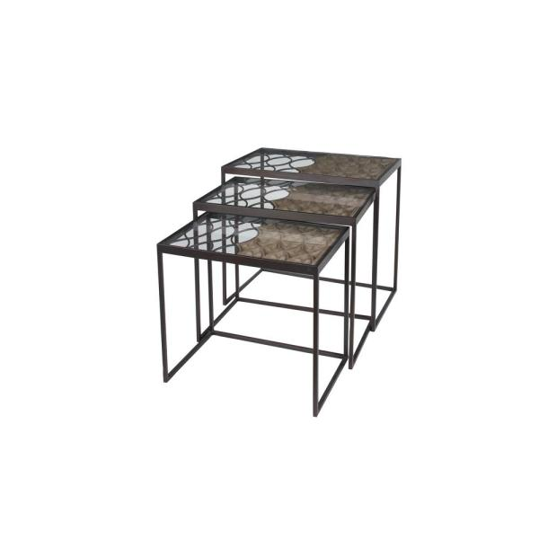 Litton Lane Dark Brown Metal and Glass Nesting Accent Tables (Set