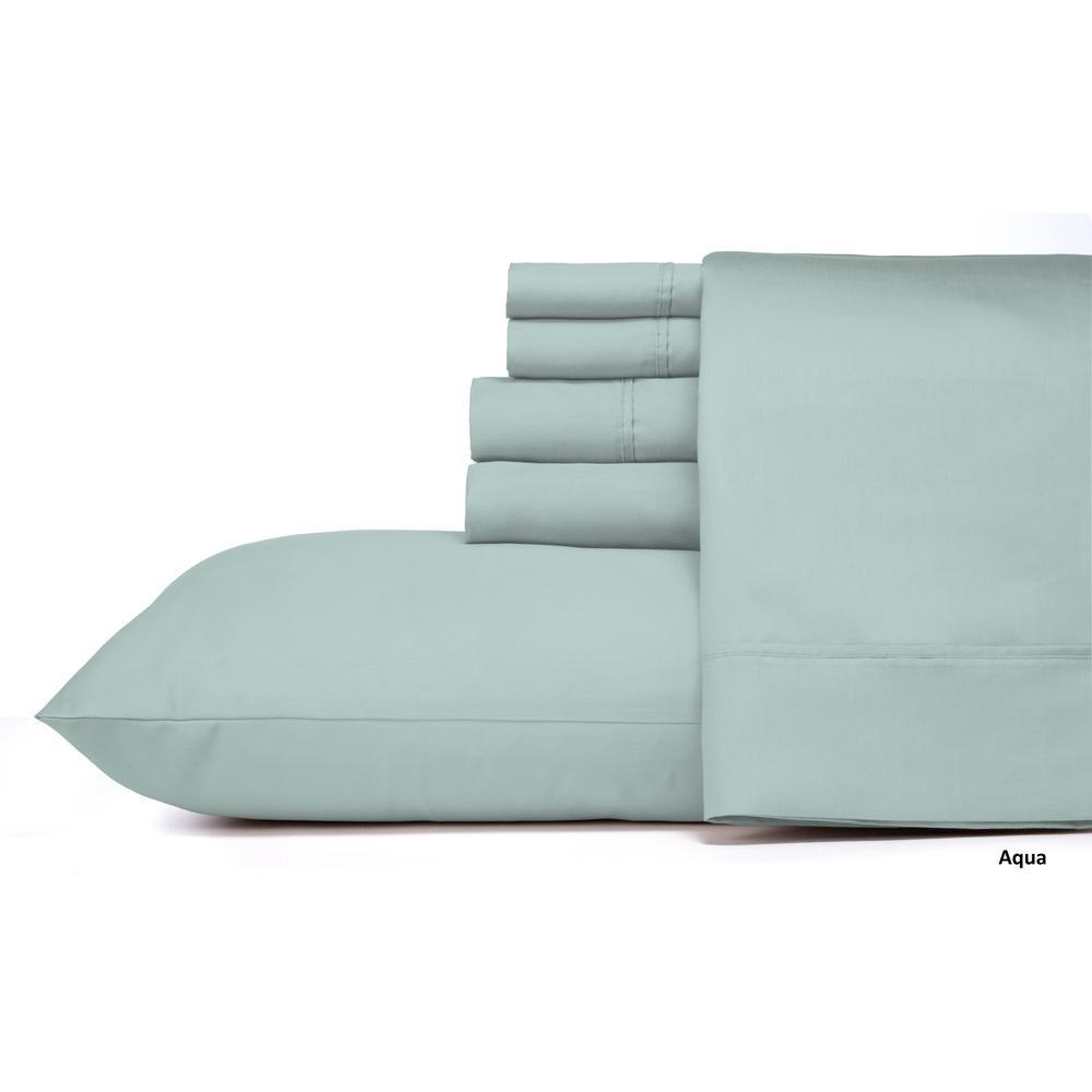 MHF Home 6-Piece Dusty Aqua Solid Cotton Rich King Sheet Set