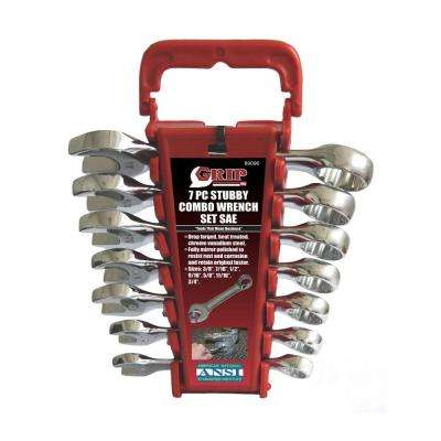 Grip Stubby Combination SAE Wrench Set (7-Piece)