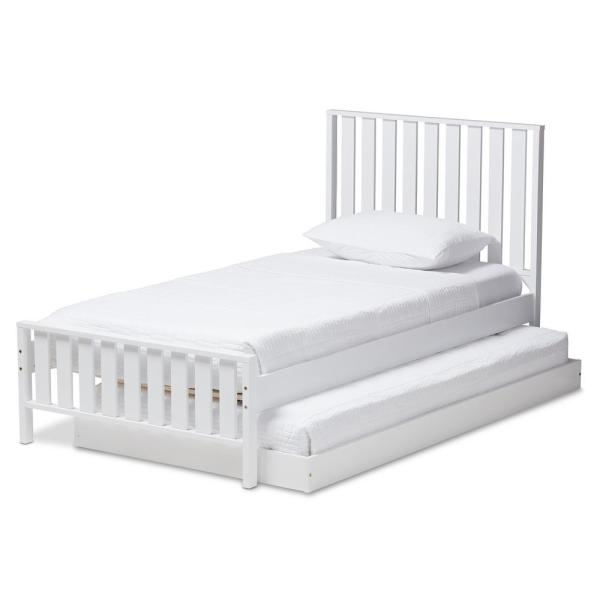 Baxton Studio Harlan White Twin Platform Bed with Trundle 143-78597891-HD