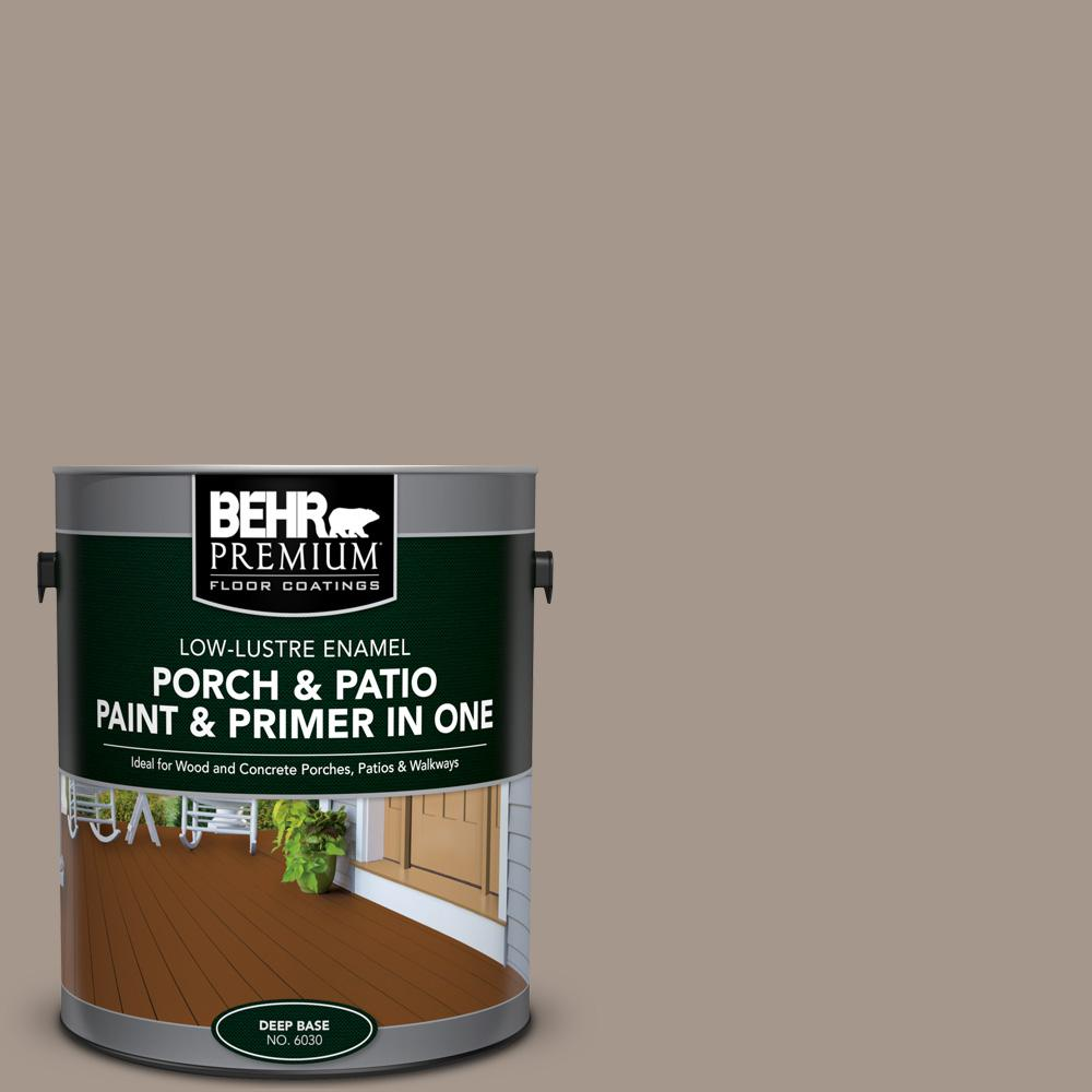 Behr premium 1 gal n220 4 shiitake low lustre interior exterior paint and primer in one porch for Behr interior paint and primer in one