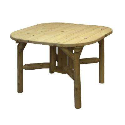 Natural Cedar and Pine 47 in. Square Outdoor Dining Table with Rounded Corners