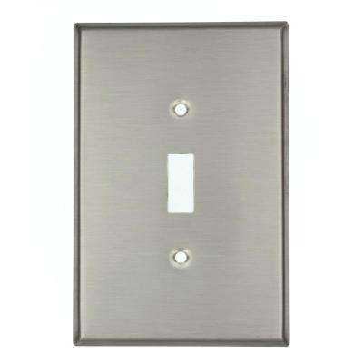 1-Gang 1-Toggle Oversized Stainless Steel Wall Plate, Stainless Steel