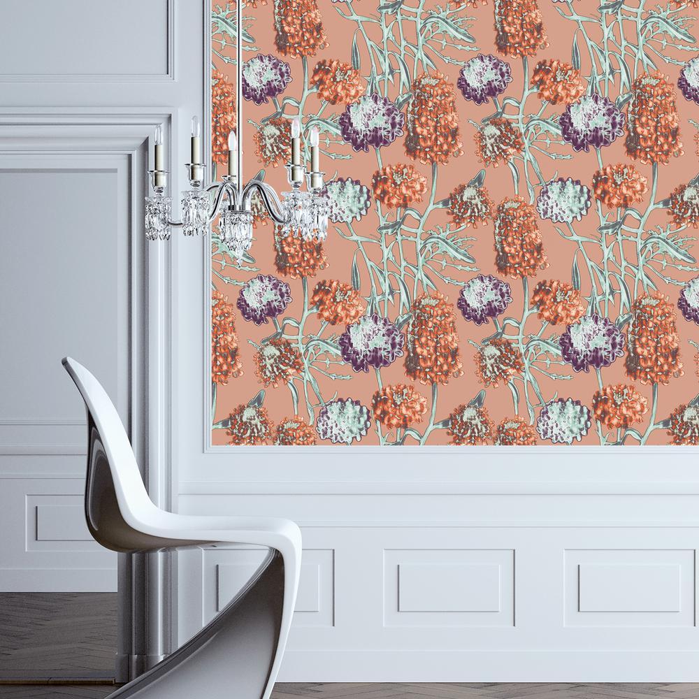Tempaper Wallpaper: Tempaper Saffron Hydrangea Wallpaper-HY084