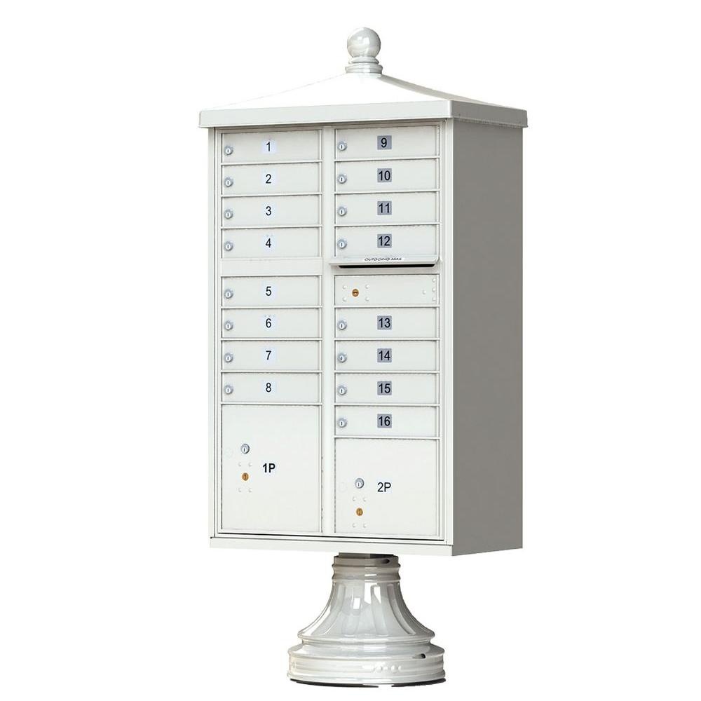 16 Mailboxes 2 Parcel Lockers 1 Outgoing Pedestal Mount Cluster Box