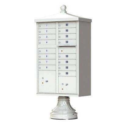 16-Mailboxes 2-Parcel Lockers 1-Outgoing Pedestal Mount Cluster Box Unit
