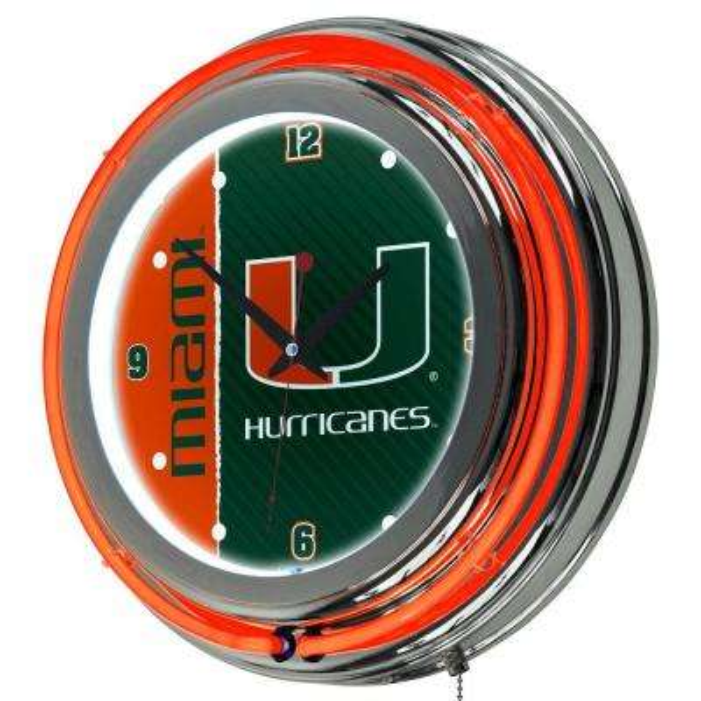 University of Miami 14 in. Round Wordmark Neon Wall Clock
