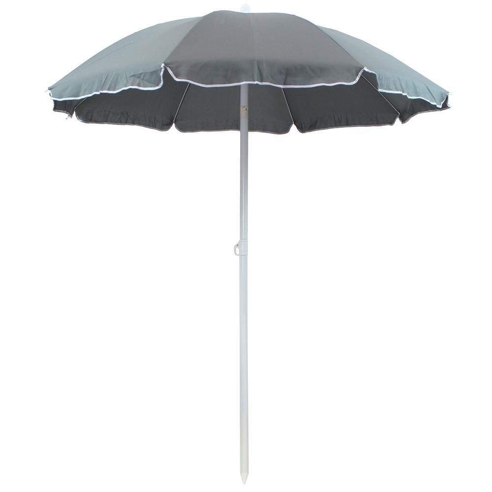 5 ft. Steel Outdoor Beach Tilt Umbrella with in Sage Green