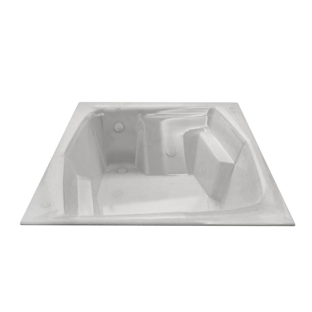 Amethyst 6 ft. Acrylic Center Drain Rectangular Drop-in Non-Whirlpool Bathtub in White